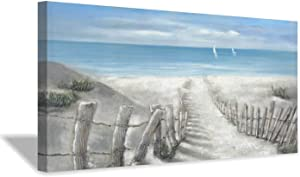 """Abstract Beach Path Artwork Picture: Hand Painted Textured Coastal Painting Ocean Canvas Wall Art for Living Room (40"""" x 20"""" x 1 Panel)"""
