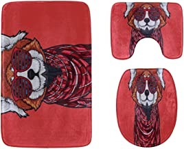 Cute Red Panda Animal Cartoon Doodle Bathroom Rug Mats Set 3-Piece,Soft Shower Bath Rugs,Contour Mat and Toilet Seat Lid C...