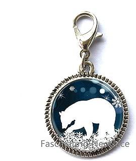 Fashion Zipper Pull,Antique Fashion Polar Bear Charming Zipper Pull Christmas Zipper Pull Blue and White Snowflake jewelry steampunk mens chain women fashion charm,AE0017