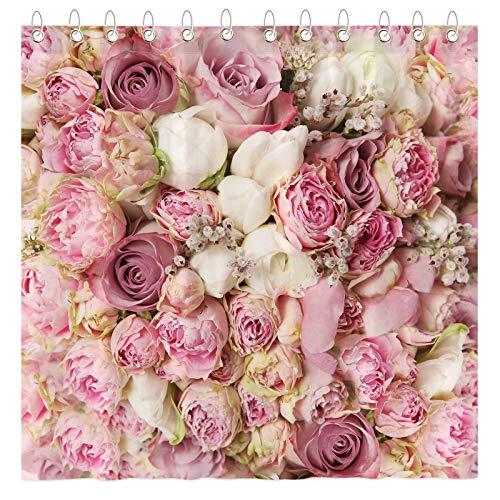 Funnytree Duschvorhang-Set mit rosa Blumen, mit Haken, süße Hochzeit, Blumenmädchen, Damen, Badezimmer, Badewannen-Dekoration, leicht zu pflegen, wasserdicht, waschbar, langlebig, Polyester, 183 x 183 cm