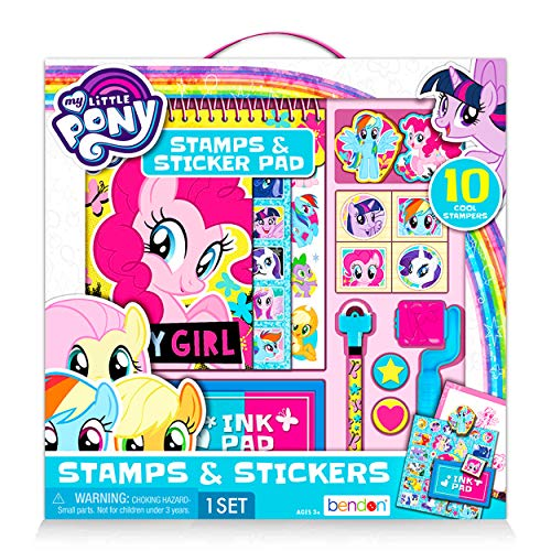 MLP Shop My Little Pony Stickers and Stamps Activity Set - Giant My Little Pony Coloring Kit with Book, 14 Stampers, Stamp Pads, Stickers (Party Supplies Pack)