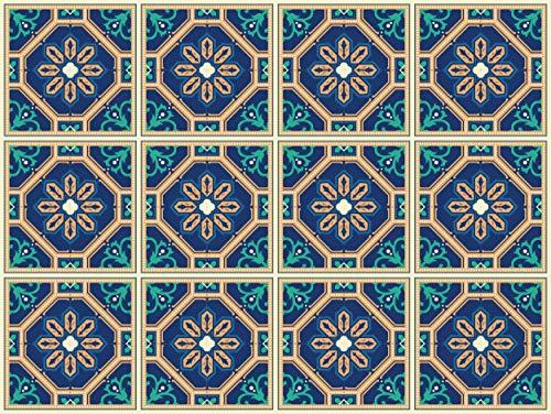 The Nisha 24 PC pegatinas para pared Adhesivo de Pared Salpicadero de Vinilos Azulejos Adhesivos Arte Ecléctico para la Cocina & Baño, 10x10 cm, Windsor