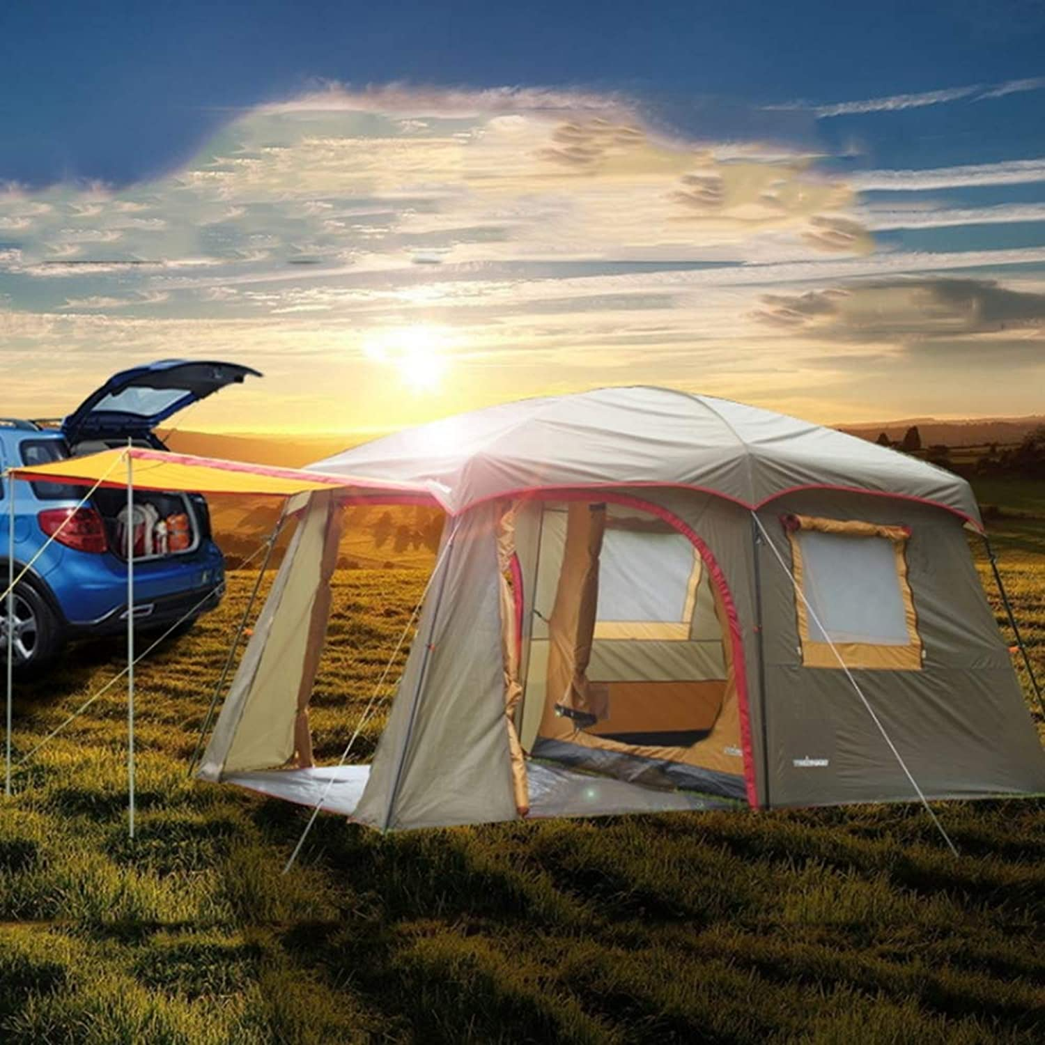 Group Tunnel Tent with Sun Canopy 5000 mm Water Column Festival Camping Backpacking Trekking Waterproof Outdoor Dome Tent 34 Persons Windproof Snow Shelter