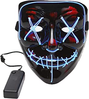 LED Purge Mask Light up Scary Halloween Mask for Men Women Horror Cosplay Rave Party
