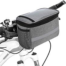 Honeytecs Cycling Bike Bicycle Insulated Front Bag MTB Bike Handlebar Bag Basket Pannier Cooler Bag with Reflective Strip
