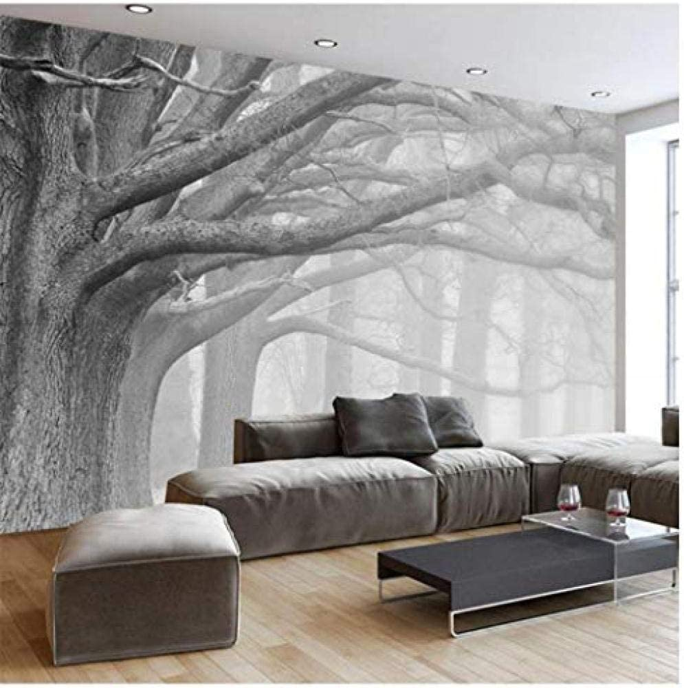 Zrisic Wall Mural 3d Mural Black And White Forest Tree Wallpaper Living Room Bedroom Background Wall Painting Home Decor 250x170cm Amazon Com