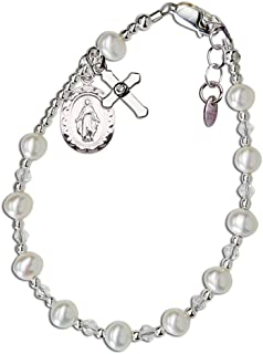Children's Sterling Silver Communion Rosary Bracelet with Cultured Pearl and Crystal (6-6.5