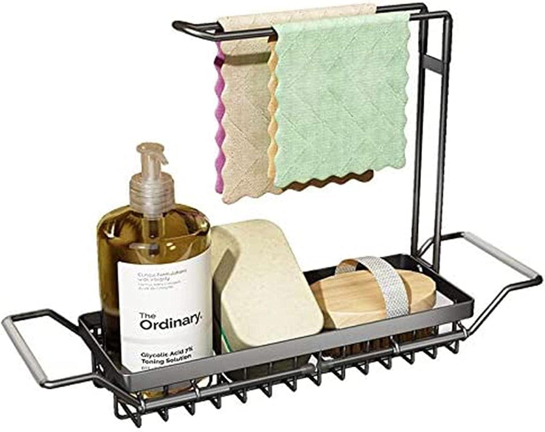 Soporte de esponja para fregadero de cocina, organizador de carrito de fregadero expandible con soporte de toalla para trapo de cocina, soporte de fregadero telescópico de acero inoxidable,Silver-B