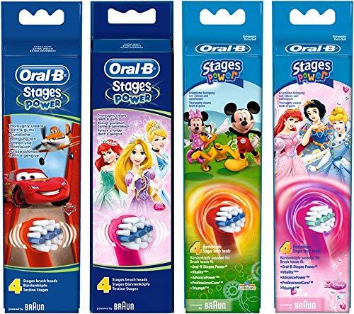 Oral-B Stages Power-Testina di ricambio per spazzolino elettrico, motivo: macchine e aerei Disney (4x)