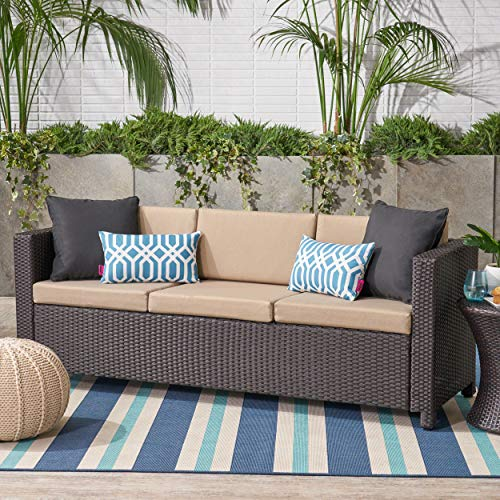 Great Deal Furniture Cony Outdoor Wicker 3 Seater Sofa, Dark Brown with Beige Cushions