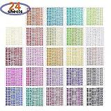 LABOTA 4032pcs Autocollants strass en 24 couleurs et 4 tailles,Autocollants Autocollants Joyau coloré...