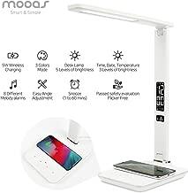 Mooas Wireless Charging Clock LED Desk Lamp (Qi Certified) Flicker Free, Date/Time/Temperature/Alarm LED lamp, Desk lamp