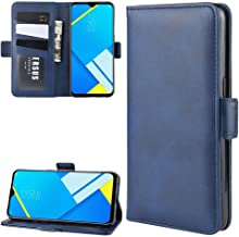 For Oppo A1k / Realme C2 Double Buckle Crazy Horse Business Mobile Phone Holster with Card Wallet Bracket Function New(Black) Wangyyy (Color : Blue)