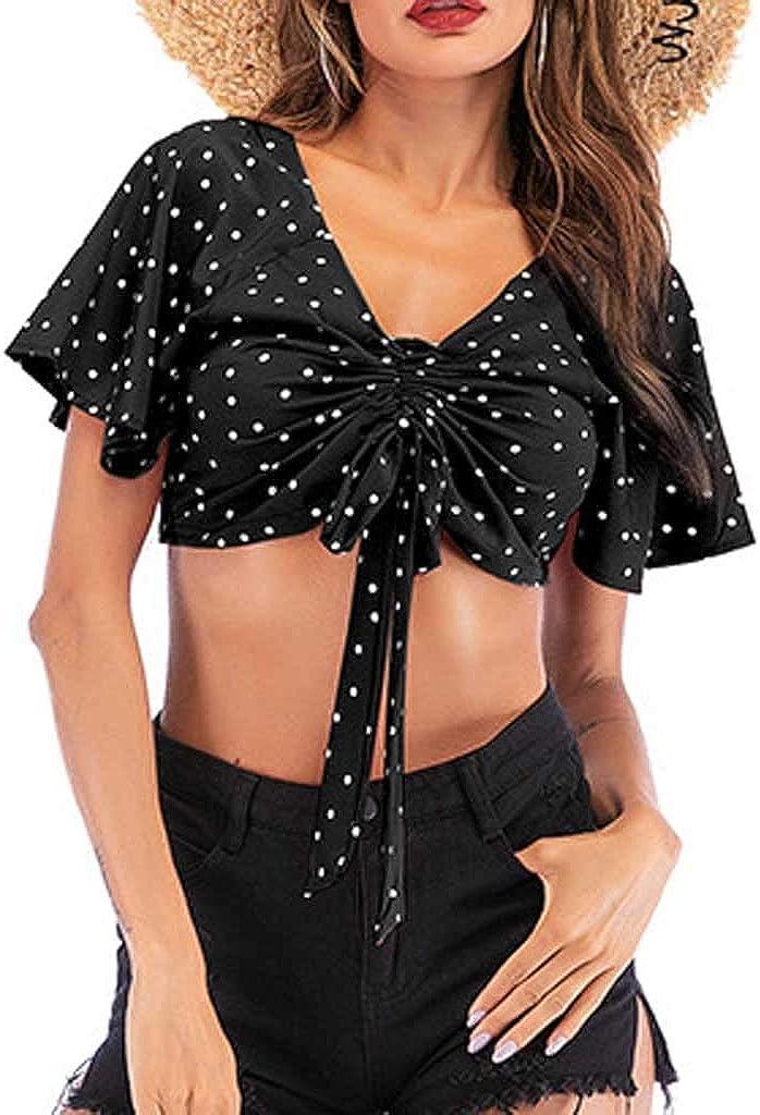 Women's Short Sleeve T-Shirt Sexy Drawstring Bandage Pleated Polka Dot V-Neck Navel Crop Top Tee Shirt Blouses