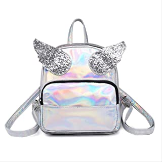 Backpack Creative Personality Laser Shoulder Bag, Sequin Edgo Backpack, Cute Reflective Cartoon Bag, Outdoor Travel Waterproof Backpack 23 x 19 x 8cm Blue (Color : Silver, Size : 23 x 19 x 8cm)