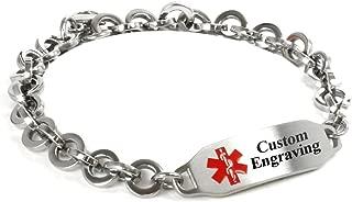 My Identity Doctor Custom Engraved Medical Alert Bracelet - 316L Steel 8mm Round Link