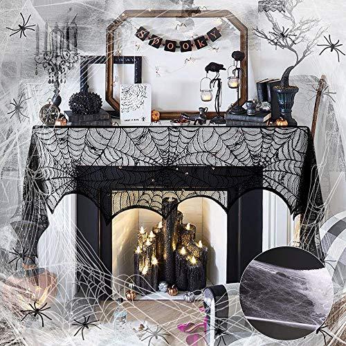 BUZIFU Halloweendeko Set Spinnweben Spitzen Spinnennetz Tischläufer und Spinnennetz mit 30 Spinnen Spitze Spinnennetz Decke Kaminschal für Kamin Tür Karneval Halloween Party Allerheiligen Grusel Deko