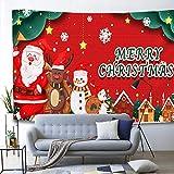 GenericBrands Tapiz de Navidad Papá Noel Santa Feliz Personaje de Dibujos Animados Colgante de Pared para Dormitorio Sala de Estar Dormitorio Decoración