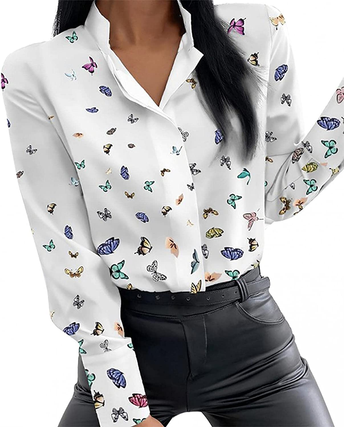 Fashion Shirt for Women Lapel Single Breasted Long Sleeve Blouse Tops Casual Slim Printing Stand-Up Collar Shirt Tops