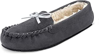 TF STAR Women Ladies Girls Moccasin Slipper Shoes Slip on Loafer Casual Flat Microfiber Shoes Indoor Outdoor