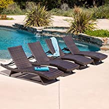 Christopher Knight Home 294920 Salem Patio Chaise Lounge, Set of Four, Multi Brown
