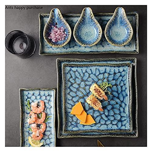 Cena Placas Sirviendo Placas de placa Rectangular Sushi Plato Horno Turnos Cerámica Azul Placa Square Placa de Steak Oeste Hogar Vajilla Platos Placas Cena Plato Platos Placas ( Color : Taste Dish )