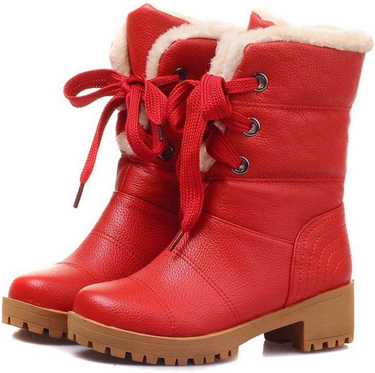 Bare&Boosth Women Half Short Boots Square Heels Winter Thicken Fur Warm Mid Calf Boot Lace-Up Gladiator shoes