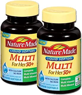 Nature Made Multi 50+ For Her 60 Liquid Softgels (Pack of 2)