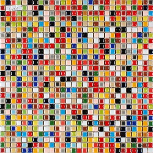 Hominter 11 Sheets Multi Colored Ceramic Mosaic Tile