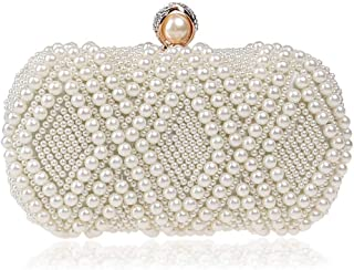 ZYWYB Women Pearl Beaded Evening Clutch Handbags Wedding Party Bags Purse (Color : White)