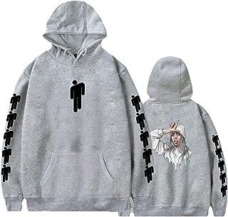 SSRUI off Spalla Top per Donna Ragazza Manica Lunga Billie Eilish Pattern Casual Hooded Pullover con Cappuccio