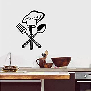 Pegatinas De Pared Francés Hogar Cocina Vinilo Pegatinas De Pared Cuchillo Negro Y Tenedor Cuchara Gorro De Chef Arte Pegatinas De Pared Calcomanías De Pared De Cocina Decoración De La Pared 36X42Cm