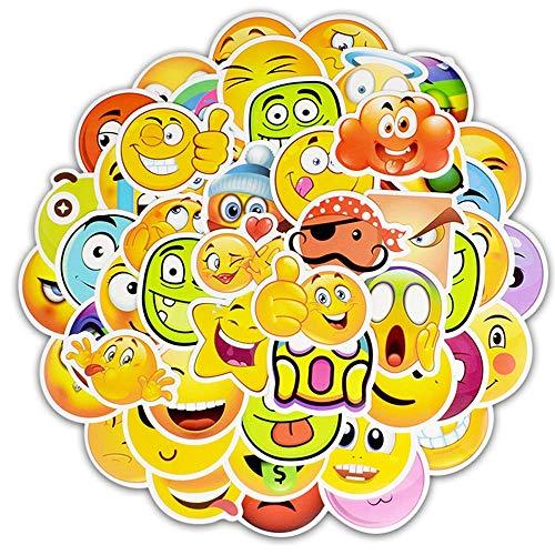 ShuGuoTu 50pcs Smile Face Impermeabile Vinile Emoji Adesivi Personalizza Laptop, Auto, Casco, Skateboard, Valigie Graffiti per Bambini Regalo