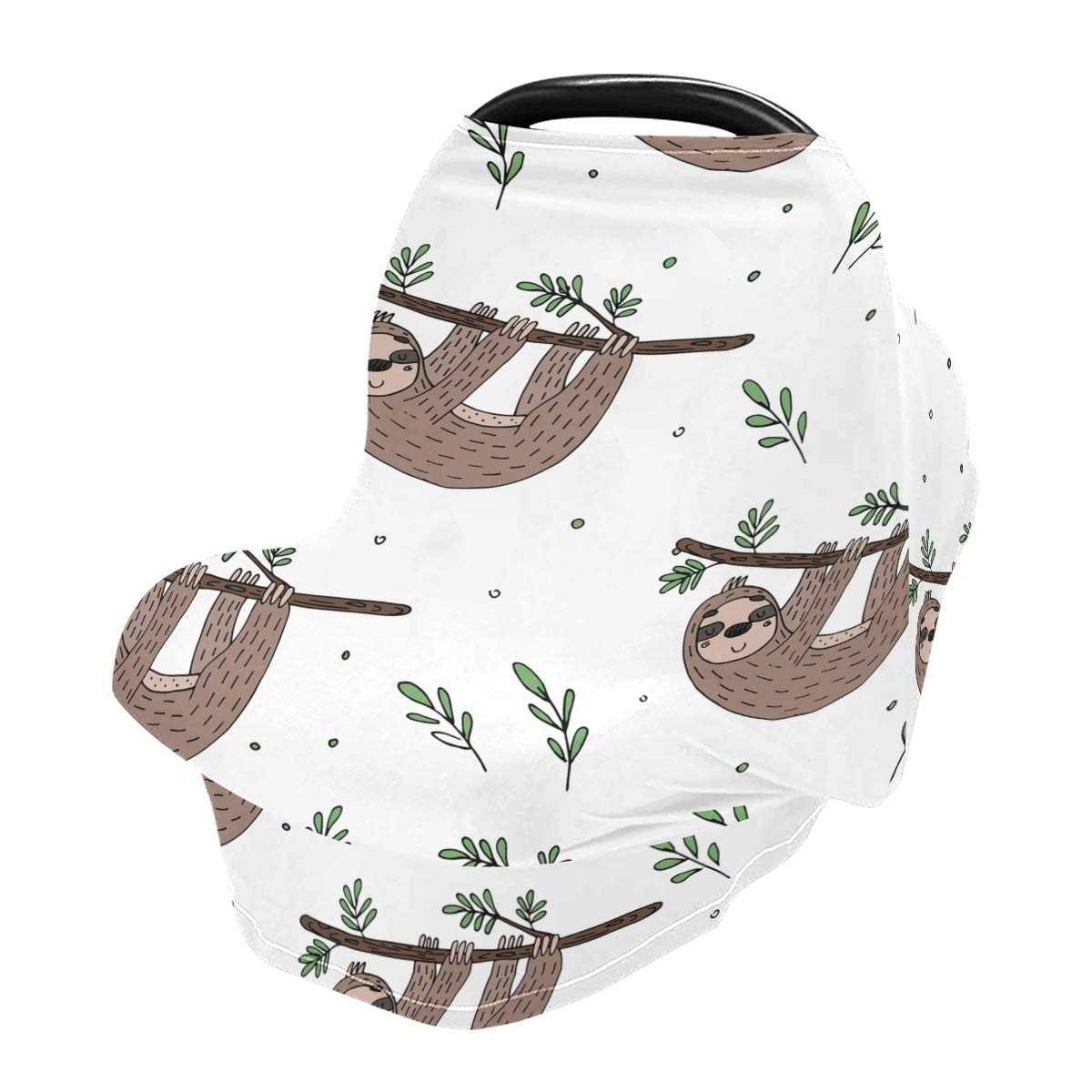 Nursing Cover Breastfeeding Scarf, Cute Doodle Sloth Car Seat Covers for Babies Infant, Stroller Cover, Carseat Canopy for Boys Girls