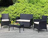 Outdoor Patio Furniture Sets 4 Pieces Patio Set Rattan Chair Wicker Sofa Conversation Set Patio Chair for Backyard Lawn Porch Poolside Balcony Garden Furniture Sets with Coffee Table