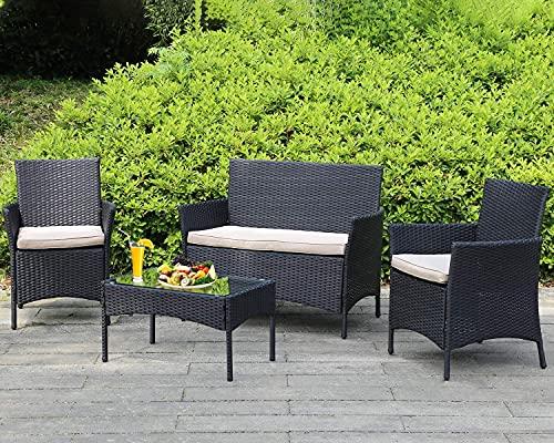 Outdoor Patio Furniture Sets 4 Pieces Patio Set Rattan Chair Wicker Sofa Conversation Set Patio...