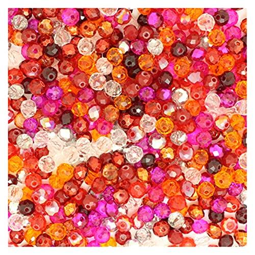 MURUI ZZ 4 * 6mm 50pcs RONDELLE Austria Facetó con Hilos de Cristal, Perlas de Cristal, Perlas Redondas de Espaciador Sueltas para la fabricación de Joyas YC804 (Color : 7)
