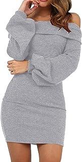 comprar comparacion Vestidos de Fiesta Mujer Cortos otoño Invierno Suéter Camisetas Vestido Sexy Delgado con Cuello Halter de un Hombro y Mang...