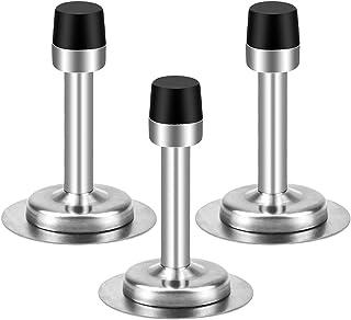 3 Piezas Topes para Puertas Acero Inoxidable, 2 in 1 Topes para Puertas Adhesivos con Topes de Goma Negro