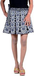 Sttoffa Cotton Printed Rajasthani Badmeri Mini Short Wrap Around Skirt Free Size Boohoo White