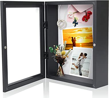 Muzilife 8x10 Shadow Box Picture Frame - Deep Wood & Glass Display Case Ready to Hang Memory Box Baby Sports Memorabilia,