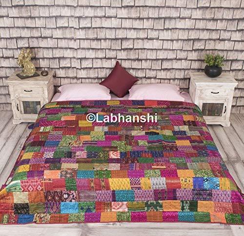 Patola silke lapp arbete kantha täcke, indisk sari täcke, tryckt överkast, boho king size-sängkläder, bohemiskt överkast, indisk etnisk bomull vändbart sängöverkast, fantastisk antik design gobeläng