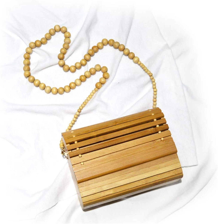 XIAOLY Damen Bambus Handtaschen Natürliche Bambus Bambus Bambus Handtaschen Handgefertigte Gewebte Taschen Sommer Strandtaschen Retro Natürliche Holzperle Brieftasche Tote B07PQCJG2P  Bezaubernde neue Welt cf09bf