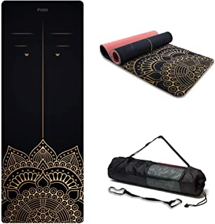 """PIDO Suede TPE Yoga Mat Eco Friendly Non Slip Yoga Mat By SGS Certified with Carrying Strap and bag,72""""x24"""" Extra Thick 1/..."""