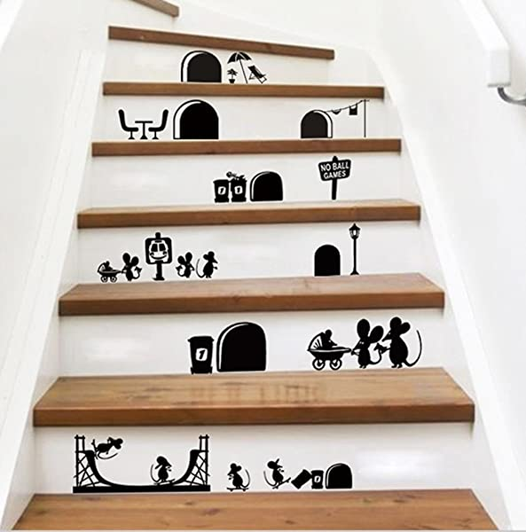 Ufengke Cartoon Cute Mouse Holes Wall Decals Children S Room Nursery Removable Wall Stickers Murals Black