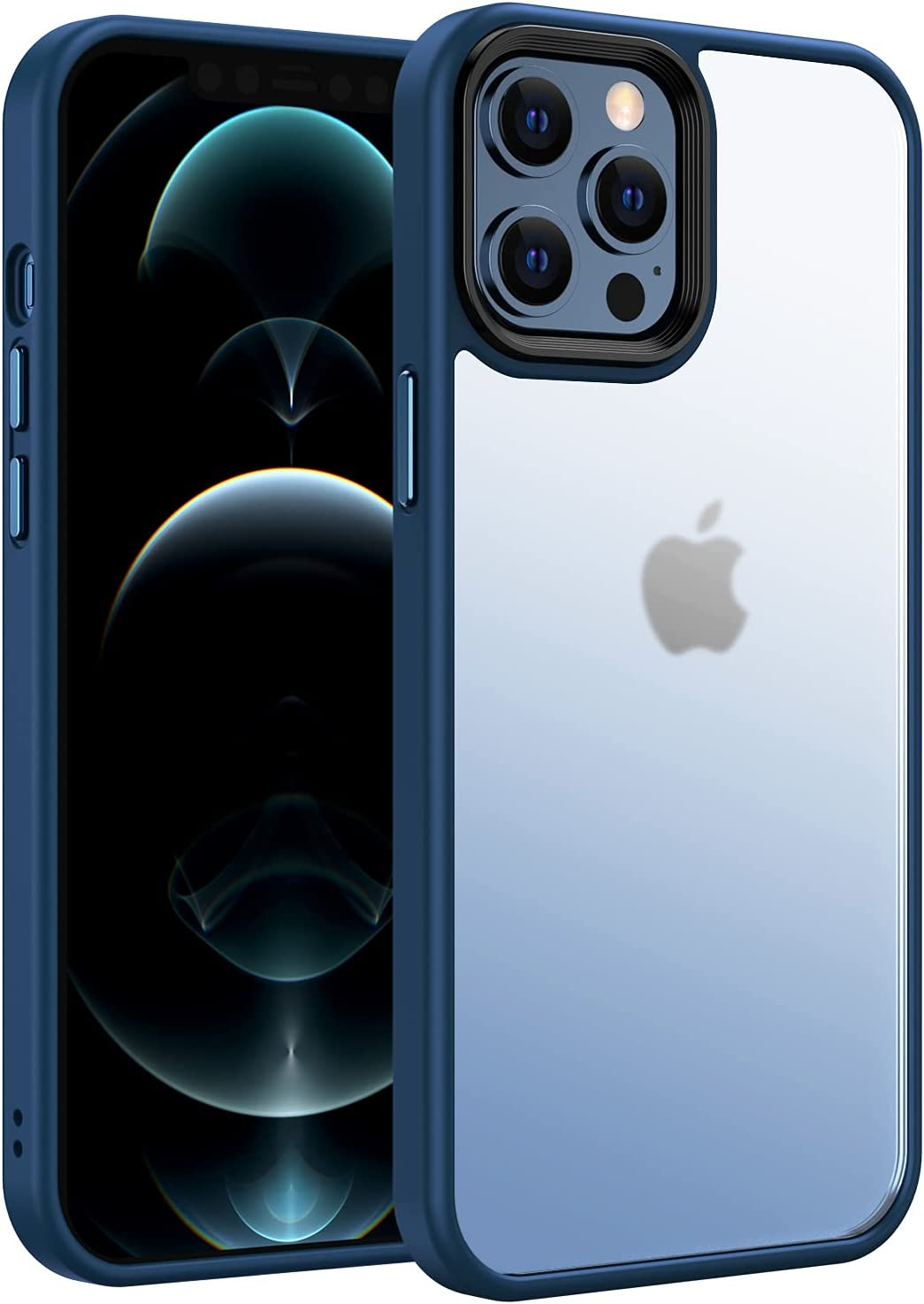Saputu Compatible with iPhone 12 Pro Max Case, [Independent Aluminum Alloy Buttons] Translucent Matte Hard PC backplane and Soft TPU Protective Frame, Military Grade Anti-Drop (Pacific Blue)