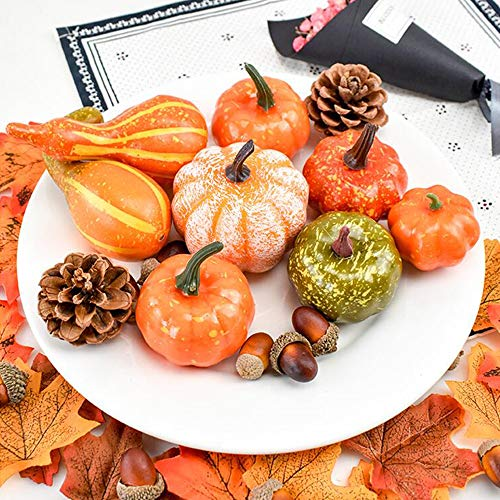 YIZRIO Mini Artificial Pumpkins Autumn Gourds, Maple Leaves, Pine Cones, Acorns for Halloween, Fall and Thanksgiving Decoration