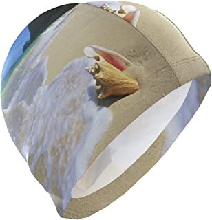 Loveful Personalized Hawaii Sea-Shells Swim Cap Superior Polyester Cloth Fabric Bathing Cap Water Resistant & Durable Swimming Hat for Water Sports