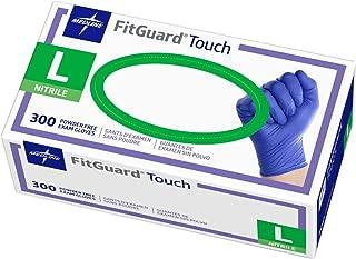 Medline FitGuard Touch Nitrile Exam Gloves, Disposable, Powder-Free, Cobalt Blue, Large, Case of 3000