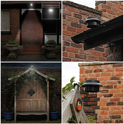FALOVE 8pcgutterlight New Solar Light Lamp Powered Outdoor Garden Yard Wall LED Light Gutter Fence Wall Lampand and Bracket, Black, 8 Piece